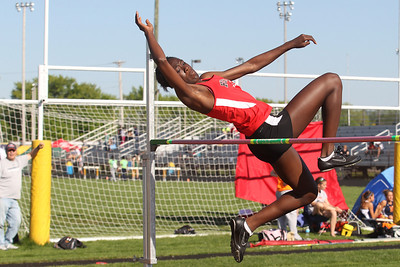 Mike Greene - mgreene@shawmedia.com Huntley's Omo Tseumah jumps over the bar while competing in the high jump during the IHSA Girls Sectional Championship Meet Thursday, May 10, 2012 in Rockton. Tseumah took first place in the event and qualified for state. Huntley will have five entries at state.
