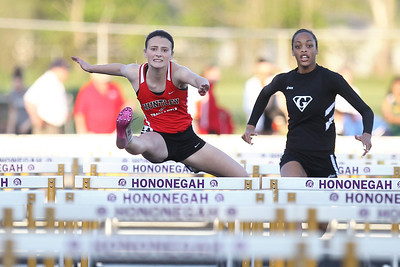 Mike Greene - mgreene@shawmedia.com Huntley's Macy Tramblay jumps over a hurdle while competing in the 100 meter hurdles finals during the IHSA Girls Sectional Championship Meet Thursday, May 10, 2012 in Rockton. Tramblay took first place in the event and qualified for state. Huntley will have five entries at state.