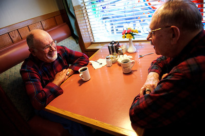 Daniel J. Murphy - dmurphy@shawmedia.com  Norm Brettschneider (left) of Huntley and Don Hasse (right) of Woodstock enjoy a cup of coffee after eating breakfeast Saturday May 12, 2012 at the Village Inn Family Restaurant in Huntley.