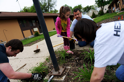 Daniel J. Murphy - dmurphy@shawmedia.com  The Adams family of Huntley from left: Nick, 18, Lexi, 6, Adam (cq), and Lisa plant daylilies Saturday May 12, 2012 at the Green Trees Apartment Complex in Huntley. The McHenry County Housing Authority and Pam Fender are refurbishing the landscaping on the Complex, which houses low-income and developmentally-disabled seniors.