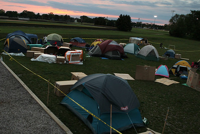 Mike Greene - mgreene@shawmedia.com Various tents and shelters are seen during SleepOut for Shelter Saturday, May 12, 2012 at Immanuel Lutheran School and Church in Crystal Lake. Event participants spent the night outside in tents, boxes or cars to raise awareness and money for McHenry County PADS.