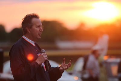 Mike Greene - mgreene@shawmedia.com Crystal Lake Mayor Aaron Shepley speaks as the sun sets at SleepOut for Shelter Saturday, May 12, 2012 at Immanuel Lutheran School and Church in Crystal Lake. Event participants spent the night outside in tents, boxes or cars to raise awareness and money for McHenry County PADS.