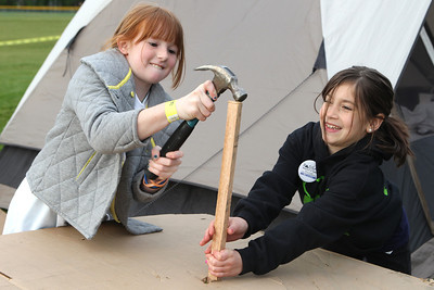 Mike Greene - mgreene@shawmedia.com McHenry residents Sam Rosga and Katlyn Ryczek, both 9, work preparing their shelter for the night at SleepOut for Shelter Saturday, May 12, 2012 at Immanuel Lutheran School and Church in Crystal Lake. Event participants spent the night outside in tents, boxes or cars to raise awareness and money for McHenry County PADS.