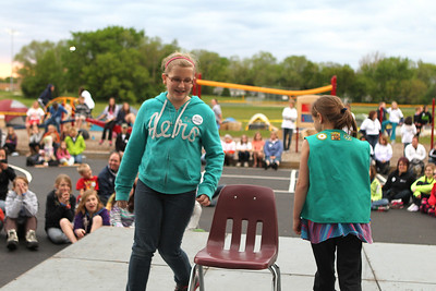 Mike Greene - mgreene@shawmedia.com Grace Knoeppen, 12 of McHenry, participates in musical chairs at SleepOut for Shelter Saturday, May 12, 2012 at Immanuel Lutheran School and Church in Crystal Lake. Event participants spent the night outside in tents, boxes or cars to raise awareness and money for McHenry County PADS.