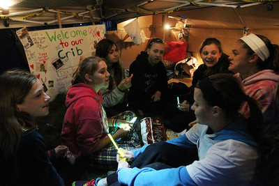 Mike Greene - mgreene@shawmedia.com Seventh grade students from Richard Bernotas Middle School chat in their tent at SleepOut for Shelter Saturday, May 12, 2012 at Immanuel Lutheran School and Church in Crystal Lake. Event participants spent the night outside in tents, boxes or cars to raise awareness and money for McHenry County PADS.