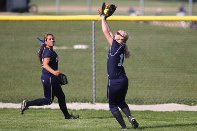 Mike Greene - mgreene@shawmedia.com Cary-Grove's Lisa Semro looks a fly ball into her glove during a game against Prairie Ridge Monday, May 14, 2012 in Cary. Cary-Grove won the game 1-0.