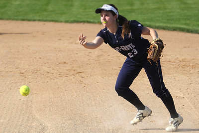 Mike Greene - mgreene@shawmedia.com Cary-Grove's Amy Clemment tosses a ball to first after fielding a grounder during a game against Prairie Ridge Monday, May 14, 2012 in Cary. Cary-Grove won the game 1-0.