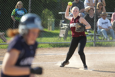 Mike Greene - mgreene@shawmedia.com Prairie Ridge's Claire Bowman lines up a throw to first during a game against Cary-Grove Monday, May 14, 2012 in Cary. Cary-Grove won the game 1-0.