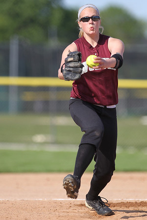 Mike Greene - mgreene@shawmedia.com Prairie Ridge's Kirsten Stevens winds while pitching during a game against Cary-Grove Monday, May 14, 2012 in Cary. Cary-Grove won the game 1-0.