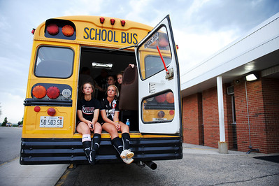 Daniel J. Murphy - dmurphy@shawmedia.com  The Stillman Valley girls soccer team seeks shelter in the bus Tuesday May 15, 2012 at Harvard Junior High School during a lightning delay of the Class 1A Harvard Sectional semifinal.