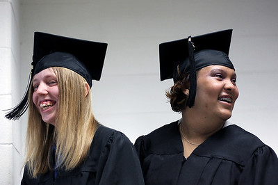 Sarah Nader - snader@shawmedia.com Autumn O'Halleran (left), 20, of Hebron and Daisy Rodriguez, 21, of Harvard wait in line before graduating from the Pathways program at McHenry County College on Wednesday, May 16, 2012. The program is a partnership between McHenry County College and the Special Education District of McHenry County and is a transition educational program for students with disabilities.
