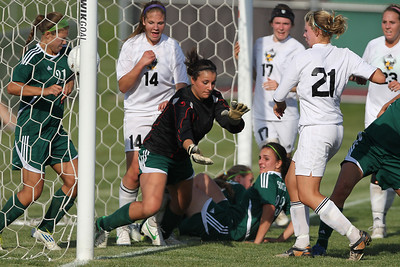 Mike Greene - mgreene@shawmedia.com Crystal Lake South goalkeeper Gianna DiSarno reacts too late as Jacobs' Molly Leopold kicks the ball into the goal  during the Class 3A Jacobs Regional Final Friday, May 18, 2012 in Algonquin. Jacobs won the game 4-0 to take home the regional title.