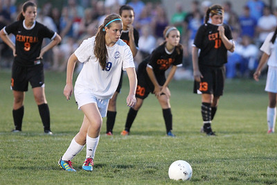 Mike Greene - mgreene@shawmedia.com Burlington Central's Lindsey Puccio lines up a penalty kick against Crystal Lake Central goalkeeper Caitlyn Dayton during the Class 2A Regional Finals Saturday, May 19, 2012. Burlington Central won the game 3-2 in triple overtime.