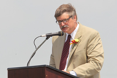 Mike Greene - mgreene@shawmedia.com Richmond-Burton principal Tom DuBois speaks during graduation ceremonies for Richmond-Burton High School Sunday, May 20, 2012 in Richmond. This was DuBois' final graduation before retiring.