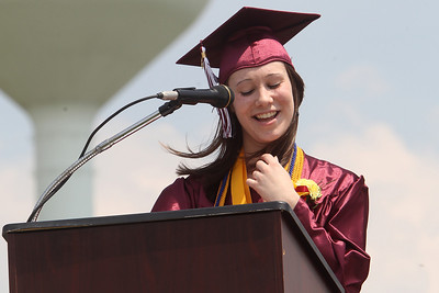 Mike Greene - mgreene@shawmedia.com Richmond-Burton Valedictorian Melanie Maurer laughs while giving a speech during graduation ceremonies for Richmond-Burton High School Sunday, May 20, 2012 in Richmond.