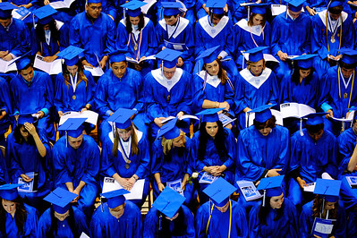 Daniel J. Murphy - dmurphy@shawmedia.com  Graduates in their seats during the 135th Commencement Ceremony Sunday May 20, 2012 at Woodstock High School.