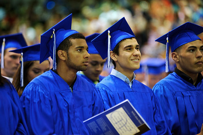 Daniel J. Murphy - dmurphy@shawmedia.com  Graduates listen to Andrew Hughes deliver the Valedictory Address during the 135th Commencement Ceremony Sunday May 20, 2012 at Woodstock High School.
