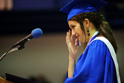 Daniel J. Murphy - dmurphy@shawmedia.com  Senior class president Kelly Berger tears up during her speech at the 135th Commencement Ceremony Sunday May 20, 2012 at Woodstock High School.