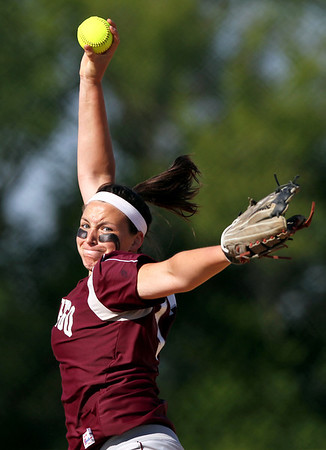 Sarah Nader - snader@shawmedia.com Marengo's Lindsay Melson pitched during Monday's home game against Cary-Grove on May, 21, 2012. Marengo won, 1-0.
