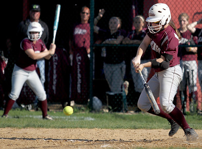 Sarah Nader - snader@shawmedia.com Marengo's Abby Kissack makes contact with the ball during the fourth inning of Monday's home game against Cary-Grove on May, 21, 2012. Marengo won, 1-0.