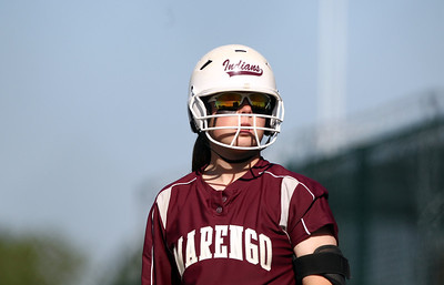 Sarah Nader - snader@shawmedia.com Marengo's Abby Kissack warms about before batting during Monday's home game against Cary-Grove on May, 21, 2012. Marengo won, 1-0.