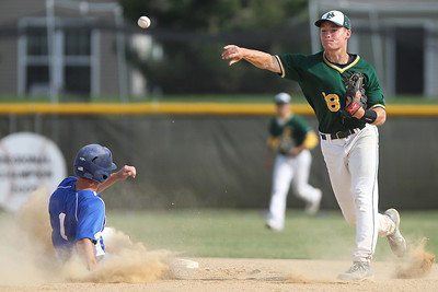 Mike Greene - mgreene@shawmedia.com Crystal Lake South's Jordan Van Dyck throws over Dundee-Crown's Jake Romano to complete a double play during the Class 4A Regional Semifinals Wednesday, May 23, 2012 in Huntley. Crystal Lake South won the game 12-2 to advance to the finals against Cary-Grove Saturday.
