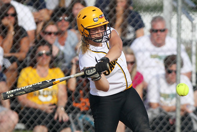 Mike Greene - mgreene@shawmedia.com Jacobs' Maggie Hansen swings at a pitch against Crystal Lake South during the Class 4A Regional Semifinals Wednesday, May 23, 2012 in Huntley. Jacobs won the game 4-0 to advance to the regional finals Saturday.