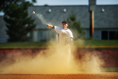 Daniel J. Murphy - dmurphy@shawmedia.com  Jacobs' Jon Berndt throws the ball to first base to send Huntley's Tyler Albright back to the dugout in the second inning Thursday May 24, 2012 at Huntley High School. Jacobs defeated Huntley 8-4 in the Class 4A Huntley Regional semifinal.