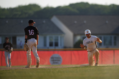 Daniel J. Murphy - dmurphy@shawmedia.com  Jacobs' Mark Self (right) signals he is alright to coaches after a rough slide into third base Thursday May 24, 2012 at Huntley High School. Jacobs defeated Huntley 8-4 in the Class 4A Huntley Regional semifinal.