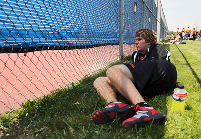 Sarah Nader - snader@shawmedia.com Crystal Lake Central's Josh Pudlo rests before his second round singles game at the IHSA State Tennis Tournament in Hoffman Estates on  Thursday, May 24, 2012.