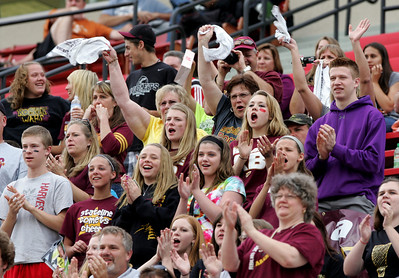 H. Rick Bamman - hbamman@shawmedia.com Richmond-Burton fans cheer the Rockets during the first half of the IHSA 1A State soccer semifinal game against Quincy Notre Dame.