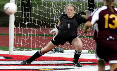 iRichmond-Burton's keeper Hannah Koenig moves to block a shot in the first half n the IHSA Class 1A State Final Friday May 25, 2012 at North Central College Benedetti-Wehrli Stadium in Naperville.