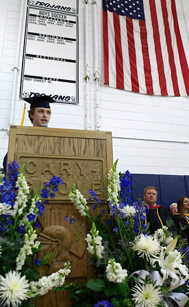 Brett Moist for the Northwest Herald Alex Whitaker, of Cary Grove, gives his Salutatorian's Address during the Senior Graduation Ceremony at Cary Grove High School on Saturday.