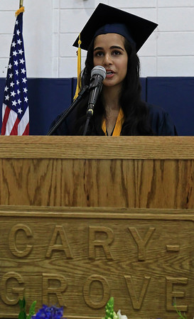 Brett Moist for the Northwest Herald Kreena Patel, of Cary Grove, gives her Valedictorian's address during the Senior Graduation Ceremony at Cary Grove High School on Saturday.