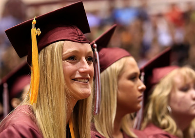 Brett Moist for the Northwest Herald Kathryn Jablonsky gets emotional during the 2012 Senior Graduation Ceremony at Prairie Ridge High School on Saturday.