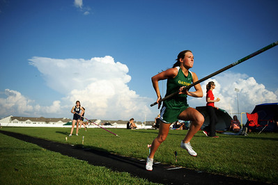 Daniel J. Murphy - dmurphy@shawmedia.com  Crystal Lake South junior Amanda Zbilski approaches the pole vault landing pit during the Fox Valley Conference girls track meet Thursday May 3, 2012 at Huntley High School.