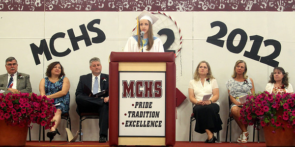 Mike Greene - mgreene@shawmedia.com Class Valedictorian Heather Gustat speaks during commencement ceremonies for Marengo Community High School Saturday, May 26, 2012 in Marengo.