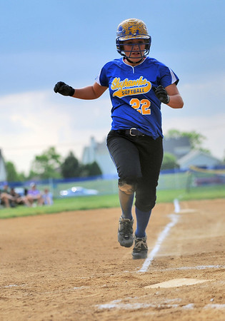 Sarah Nader - snader@shawmedia.com Johnsburg's runs home during Monday's IHSA 3A Regional Championship against Richmond-Burton in Johnsburg on May 28, 2012. Richmond-Burton won, 13-9.