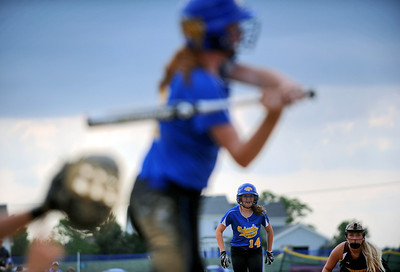 Sarah Nader - snader@shawmedia.com Johnsburg's Kayla Toussaint waits to run home during Monday's IHSA 3A Regional Championship against Richmond-Burton in Johnsburg on May 28, 2012. Richmond-Burton won, 13-9.