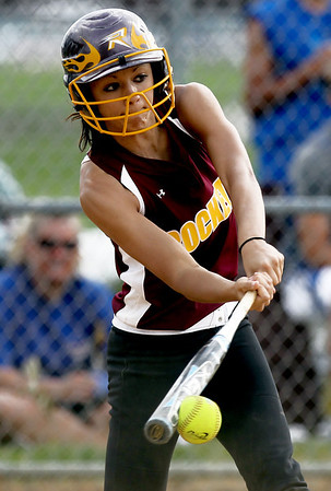 Sarah Nader - snader@shawmedia.com Ricmond-Burton's Lily Mazzanti makes contact with the ball during Monday's IHSA 3A Regional Championship against Johnsburg on May 28, 2012. Richmond-Burton won, 13-9.