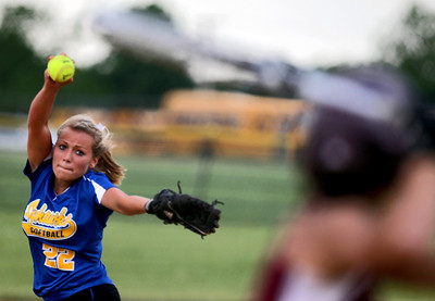 Sarah Nader - snader@shawmedia.com Johnsburg's Kendall Huemann pitched during Monday's IHSA 3A Regional Championship against Richmond-Burton in Johnsburg on May 28, 2012. Richmond-Burton won, 13-9.