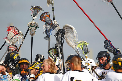 Sarah Nader - snader@shawmedia.com The Jacobs lacrosse team huddles before Wednesday's NILAX semifinals against Prairie Ridge in Algonquin on May 30, 2012. Jacobs won, 9-8.