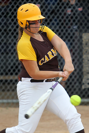 Mike Greene - mgreene@shawmedia.com Carmel's Sally Snarski hits a single knocking in one run during the first inning of the Class 4A Cary-Grove Sectional semifinals against McHenry Wednesday, May 30, 2012 in Cary. Carmel won the game 9-8.