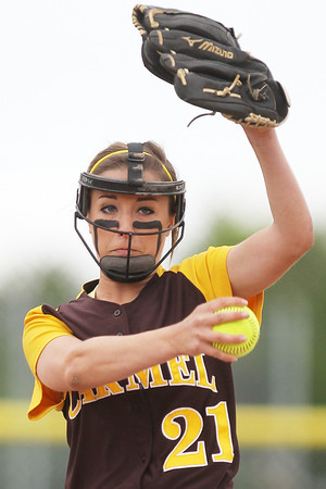 Mike Greene - mgreene@shawmedia.com Carmel's Nicole Bitter pitches during first inning of the Class 4A Cary-Grove Sectional semifinals against McHenry Wednesday, May 30, 2012 in Cary. Carmel won the game 9-8.