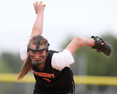 Mike Greene - mgreene@shawmedia.com McHenry's Kristin Koepke pitches during the first inning of the Class 4A Cary-Grove Sectional semifinals against Carmel Wednesday, May 30, 2012 in Cary. Carmel won the game 9-8.