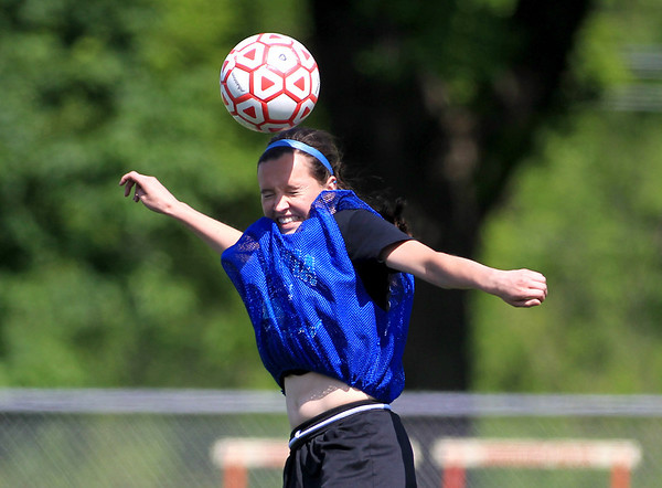 Batavia soccer player Jessica Milaneses practices with her team on the artificial turf at Mooseheart Monday afternoon.