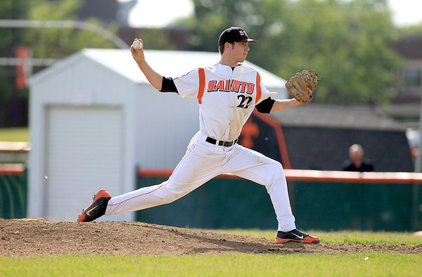 St. Charles East's Luke Ludke pitches against St. Charles North at home Tuesday.