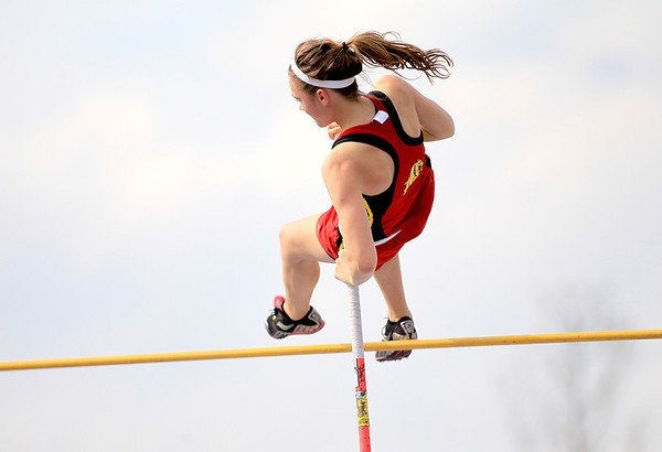 Skylar Schoen makes an attempt in the pole vault finals during the Upstate Eight River Division Girls Track and Field Championships at St. Charles North Thursday.