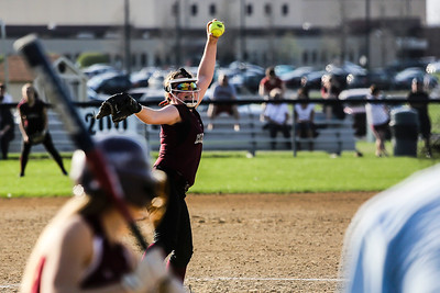 Lathan Goumas - lgoumas@shawmedia.com Marengo High School pitcher Abby Kissack delivers the ball to home during a game against Richmond-Burton High School in Richmond, Ill. on Wednesday, May 01, 2013. Marengo defeated Richmond-Burton 14-7.