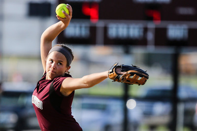 Lathan Goumas - lgoumas@shawmedia.com Marengo High School pitcher Bethany Hart delivers the ball to home during a game against Richmond-Burton High School in Richmond, Ill. on Wednesday, May 01, 2013. Marengo defeated Richmond-Burton 14-7.
